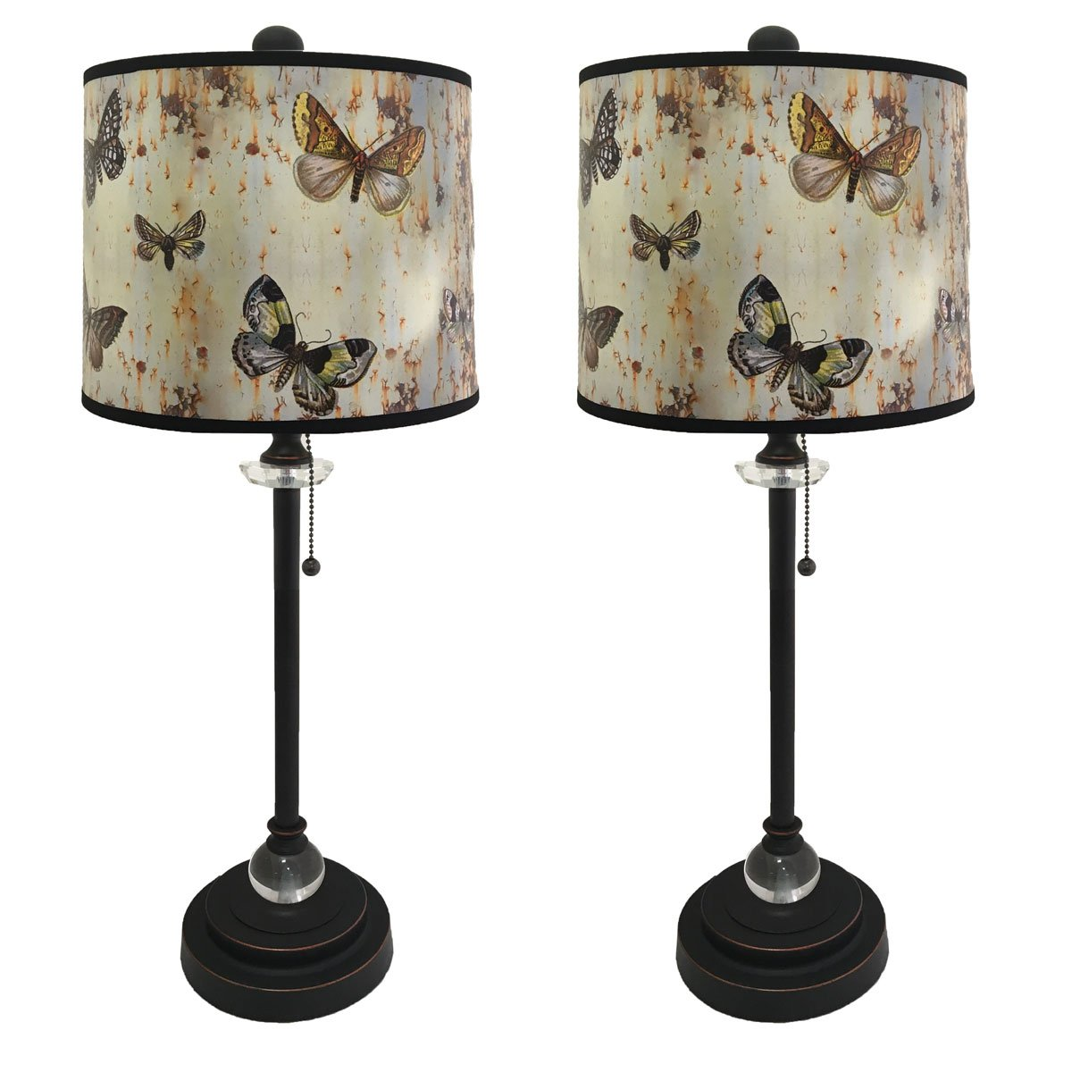Royal Designs 28'' Crystal and Oil Rub Bronze Buffet Lamp with Bufferfly Graphic Design Hard Back Lamp Shade, Set of 2
