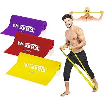 WOTEK Bandas Elasticas Fitness Goma Elastica Fitness, 3 Gomas Elasticas Musculacion:1.5m/1.8m/2m Gomas elasticas para Mujeres y Hombres, Pilates,Yoga,Rehabilitación,Estiramiento, Entrenamiento