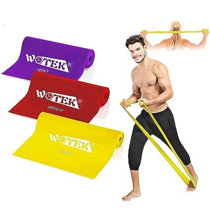 Bandas Elasticas Fitness Goma Resistencia Bandas de Ejercicios para Yoga, Pilates, Crossfit, Estiramientos, Fisioterapia, Entrenamiento de fuerza, 3 ...
