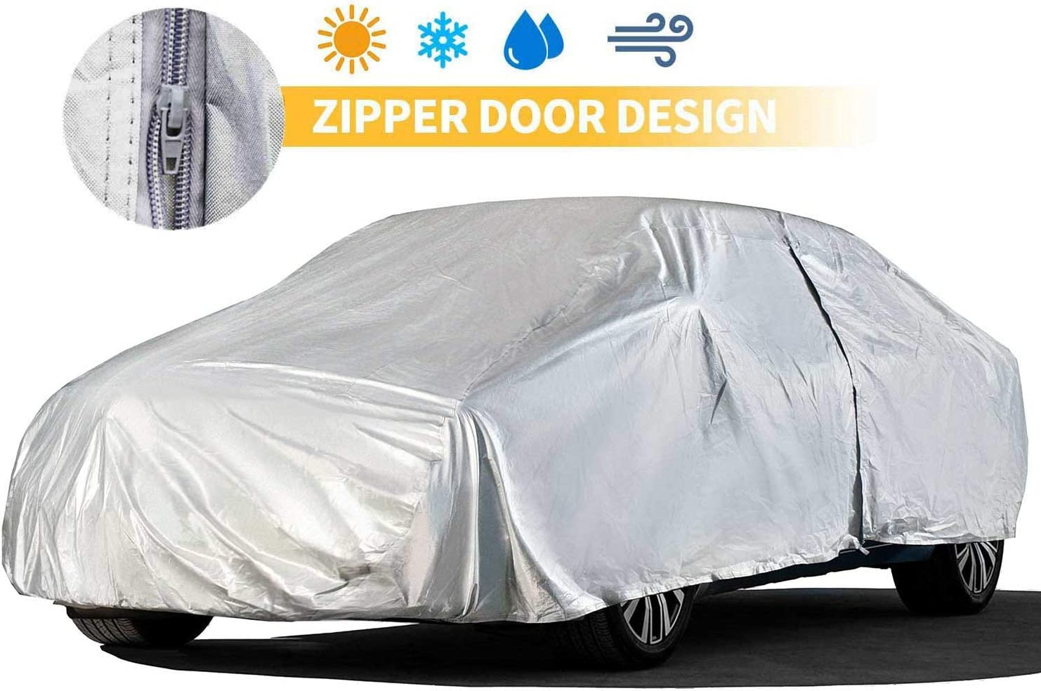 Car Covers Outdoor Silvery 5 Layers 200'' Auto Covers with Driver Door Zipper UV Protection Waterproof Windproof Dust-Proof Scratch Resistant Outdoor/Indoor Universal Car Covers for Sedan