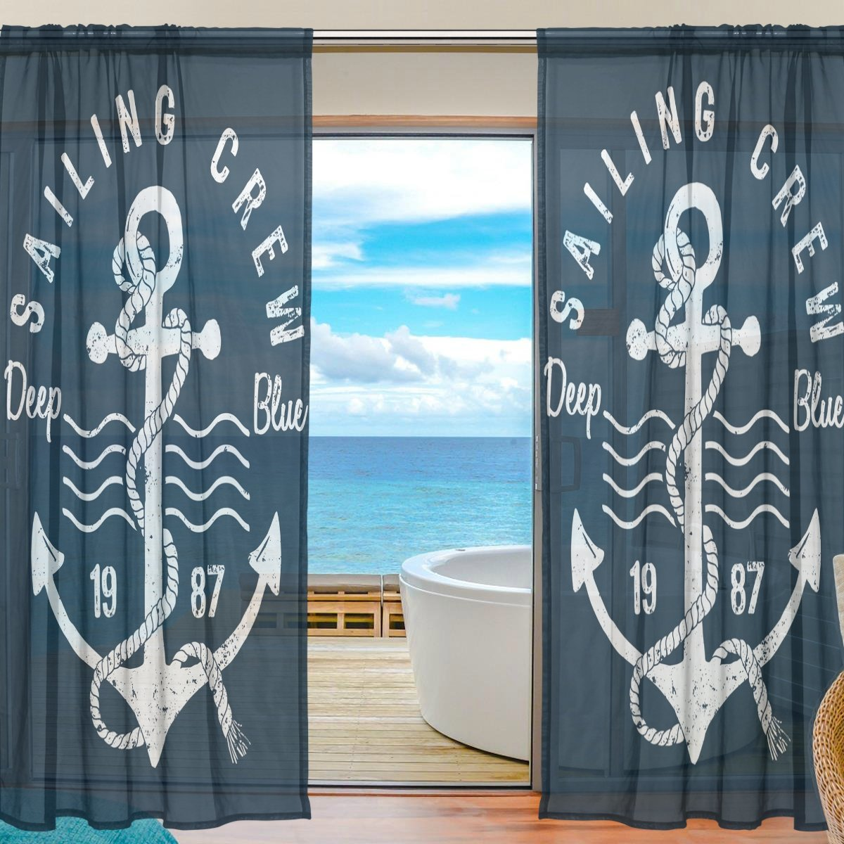SEULIFE Window Sheer Curtain, Ocean Sea Nautical Anchor Navy Blue Voile Curtain Drapes for Door Kitchen Living Room Bedroom 55x78 inches 2 Panels g3281542p111c125s165