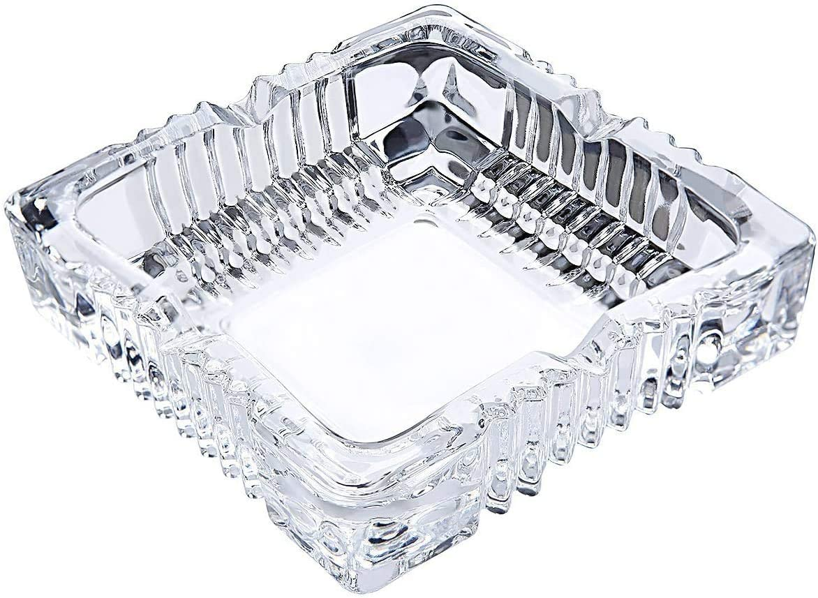 Home Collections Jumbo Table Top Square Cut Glass Ashtray Fancy Vintage Style Restaurant Cigar Indoor Outdoor