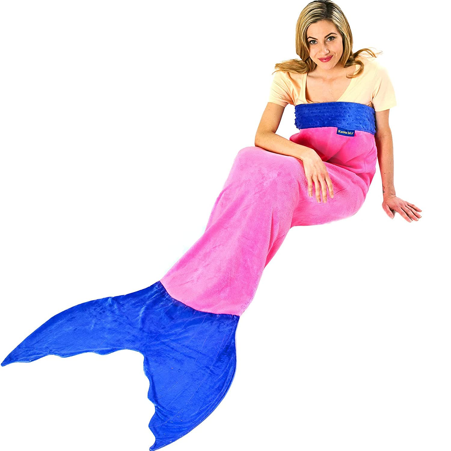 Amazon.com: Blankie Tails Mermaid Tail Blanket for Adults and Teens (Pink  and Periwinkle): Home & Kitchen