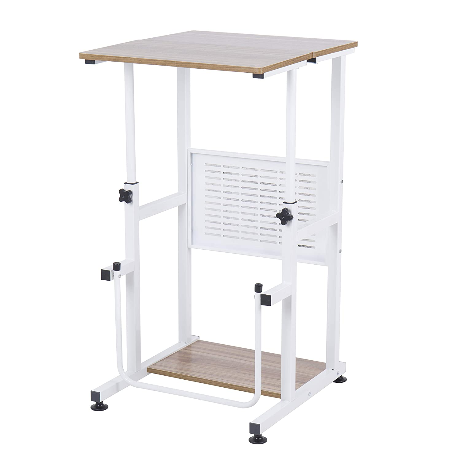 SDADI Adjustable Height Standing Desk Student Desk with Swinging Footrest Optional for Standing and Seating 2 Modes, Dark Grain
