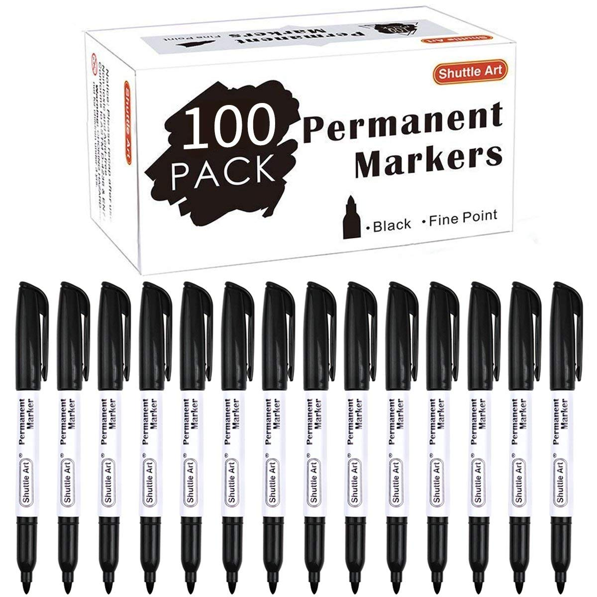 Permanent Markers,Shuttle Art 100 Pack Black Permanent Marker set,Fine Point, Works on Plastic,Wood,Stone,Metal and Glass for Doodling, Marking by Shuttle Art