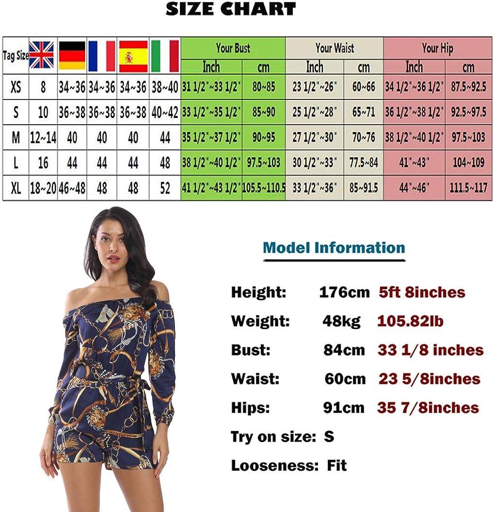 MISS MOLY Damen Schulterfrei 3//4 /Ärmel Jumpsuit Kurz Playsuit Overal Elegant mit Bindeg/ürtel