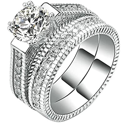 Review FENDINA 2pcs Womens Wedding Engagement Bands Ring Sets 18K White Gold Plated Princess Cut Eternity Solitaire CZ Crystal Best Anniversary Promise Rings