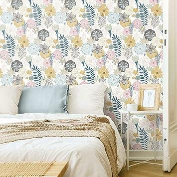 Roommates Pink Perennial Blooms Peel And Stick Wallpaper Amazon Co Uk Diy Tools