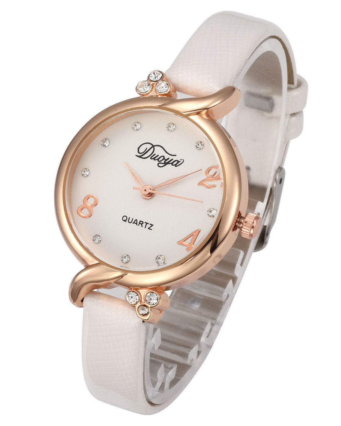 Top Plaza Women Fashion Watches Leather Band Luxury Rose Gold Analog Quartz Watches Girls Ladies Wristwatch - White