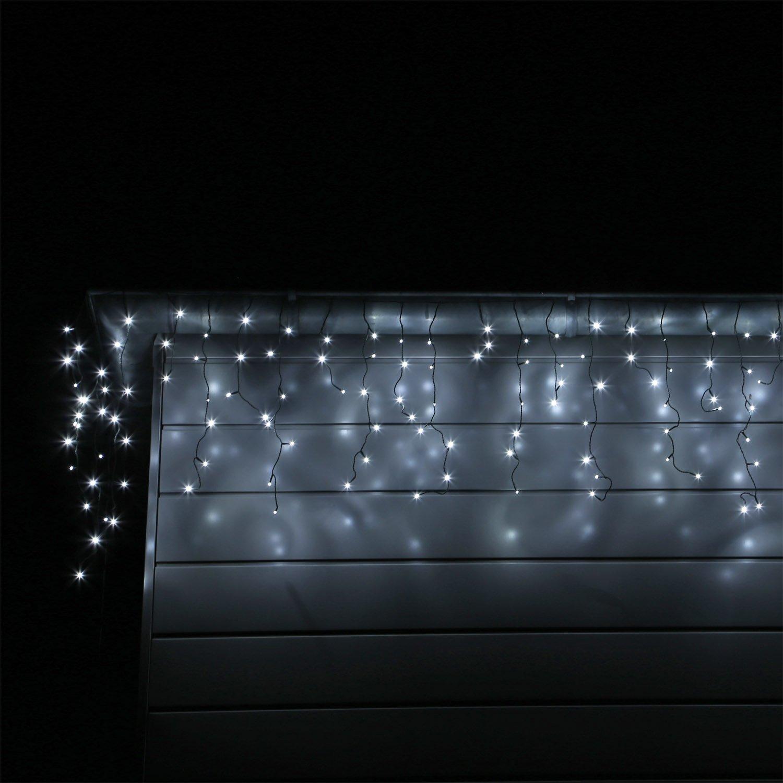 LED Eisregen Lichterkette mit 400 kalt weissen LEDs Lichtervorhang ...