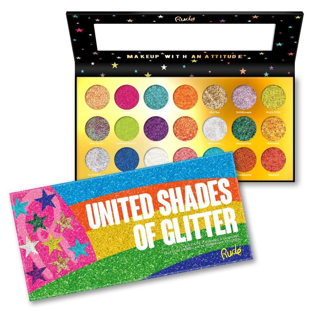 (6 Pack) RUDE United Shades of Glitter - 21 Pressed Glitter Palette (並行輸入品) B07N1QD929