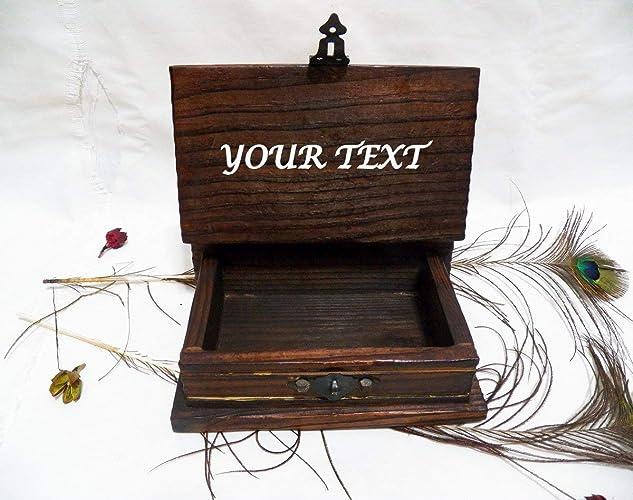 Personalizada Caja Mapa, Antiguas Cajas Reloj, Antigua Caja Tesoro, Texto Personalizado, Caja