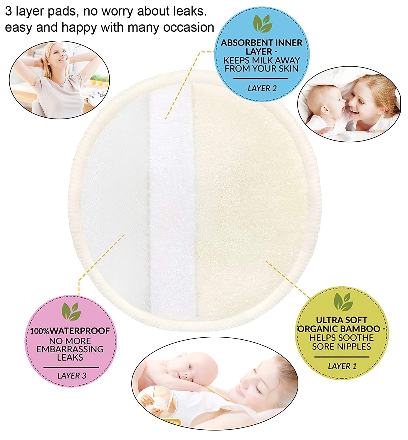 4.7 inch Reusable Washable Breastfeeding Nipple Pad for Maternity with Laundry Bag for Breastfeeding Moms 10 Pack Organic Bamboo Nursing Pads