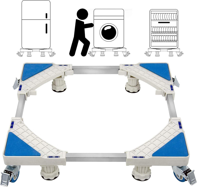 St.Oswalds Soporte Base para Lavadora Ajustable Rodillo Multifuncional 4 Ruedas 4 Patas de Pedestal Soporte Nevera Móvil para Electrodomésticos, Secadoras y Refrigeradores (Carga de 300 kg)