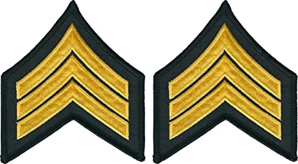 1 Pair Sgt Sergeant Police Security Chevrons Stripes Patch Brown