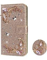QC-EMART Custodia per Samsung Galaxy J6 2018 Cover a Portafoglio in Pelle Oro Glitter Strass Fiore Paillettes con Porta Carta Chiusura Magnetica Folio Libro Custodie