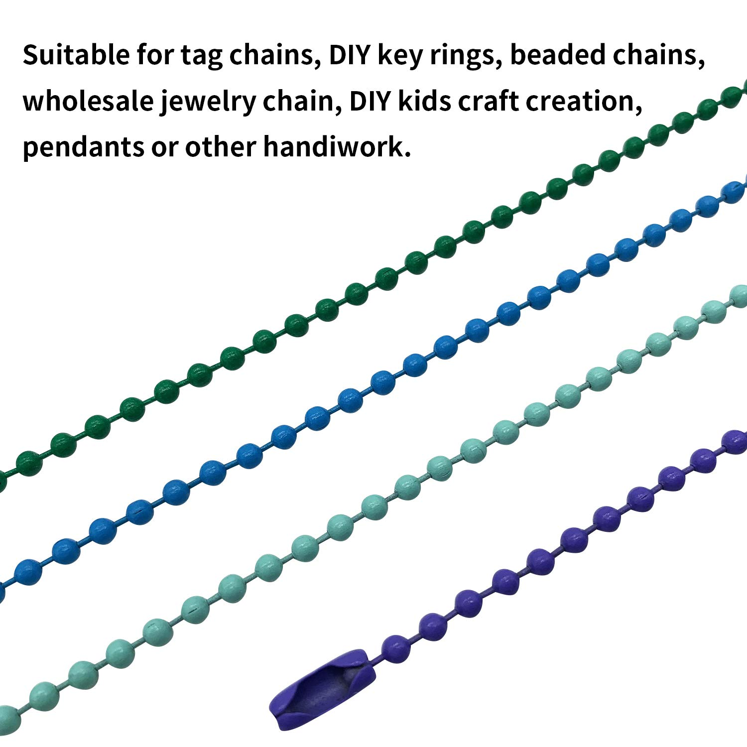 20 Colors 200 Pieces 120mm Long Bead Connector Clasp Mixed Color 2.4 mm Diameter Metal Ball Chain Keychain Tag Key Rings