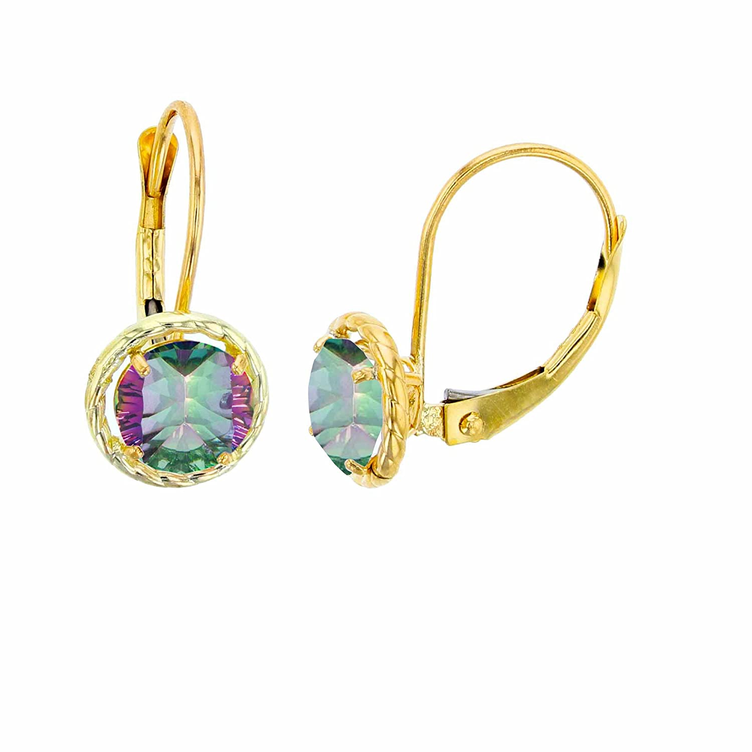 10K Yellow Gold 5mm Round Gemstone Center Stone Rope Frame Leverback Earring
