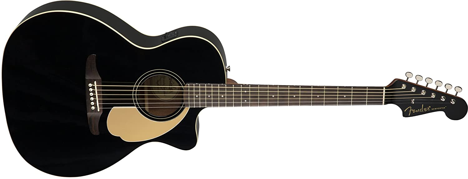 Amazon.com: Fender Newporter Player - California Series Acoustic Guitar - Jetty Black Finish: Musical Instruments