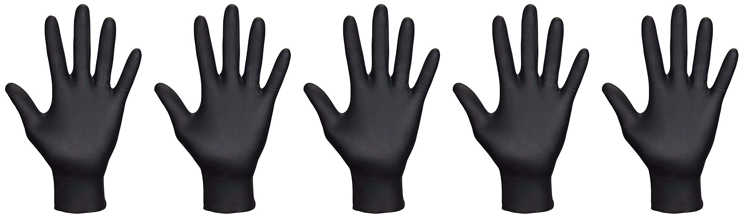 SAS Safety 66518 Raven Powder-Free Disposable Black Nitrile 6 Mil Gloves, Large, 100 Gloves by Weight - 5 Pack