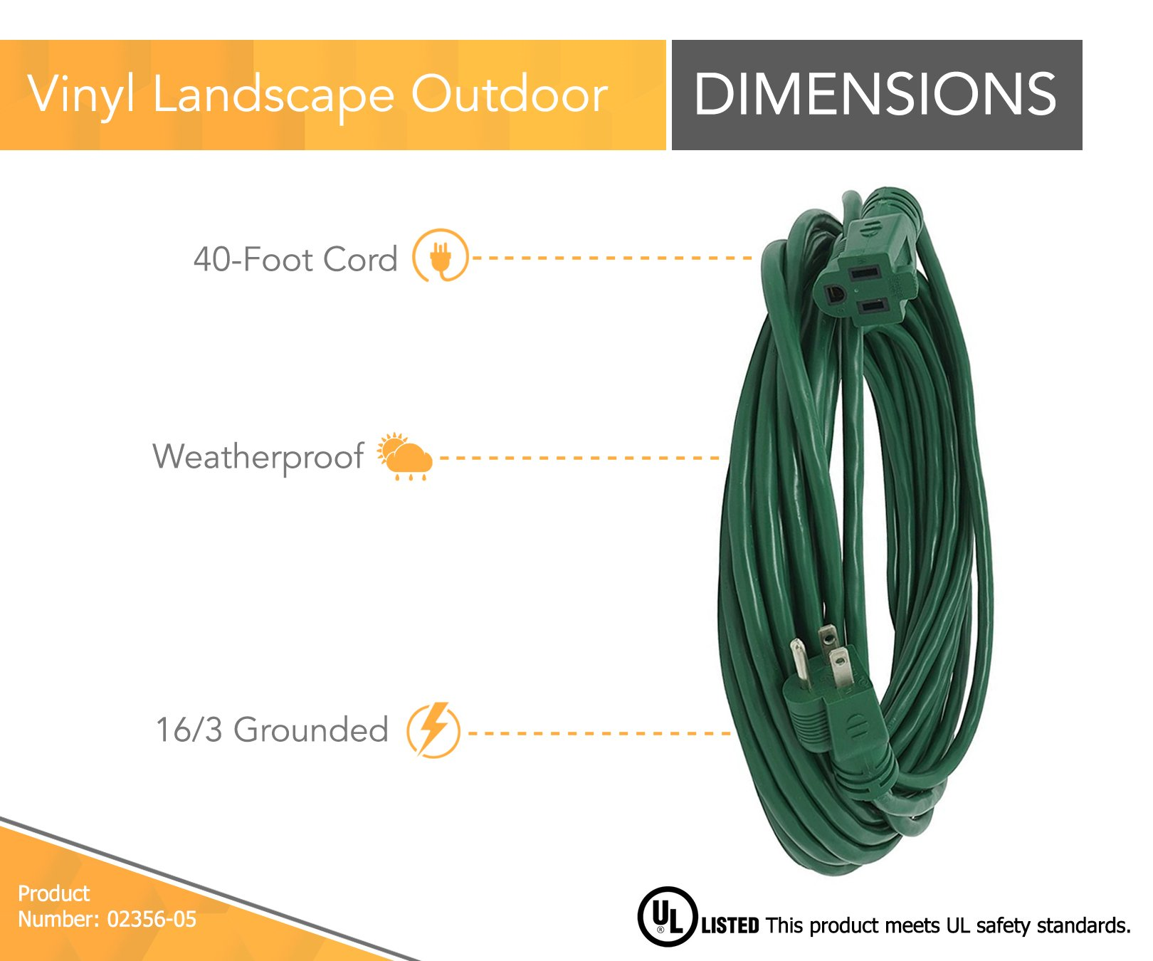 Coleman Cable 2356 16/3 Vinyl Landscape Outdoor Extension Cord, Green, 40 Foot by Coleman Cable (Image #2)
