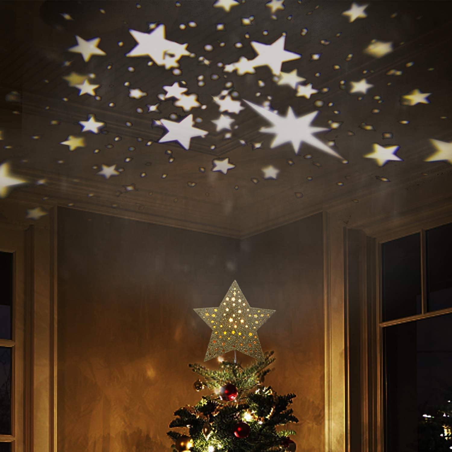 """EAMBRITE 9"""" Hollow Gold Star Christmas Tree Topper with Rotating Magic Warm White Star Projector for Xmas Tree Decoration"""
