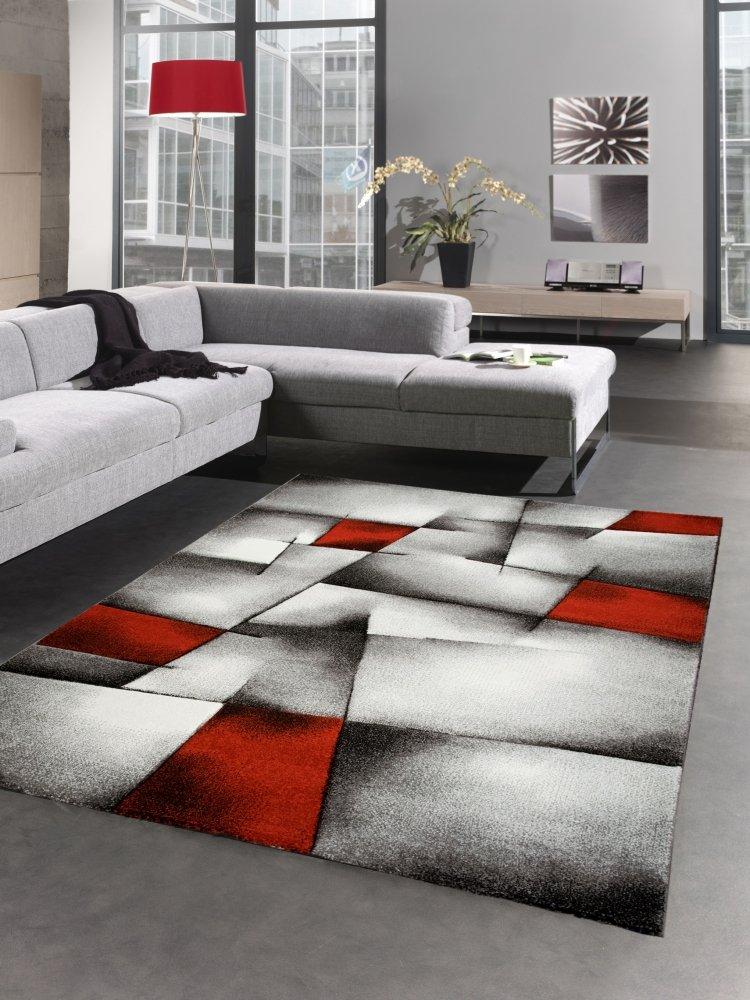 Carpetia Moderner Teppich Kurzflor Wohnzimmerteppich Konturenschnitt karo abstrakt grau schwarz Weiss rot Größe 200 x 290 cm