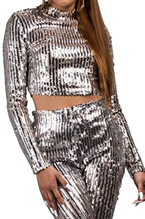 332efd0069e166 AKIRA Women's Silver Sequin Stripes Nude Mesh Stretch Mock Neck Long Sleeve  Crop Top at Amazon Women's Clothing store: