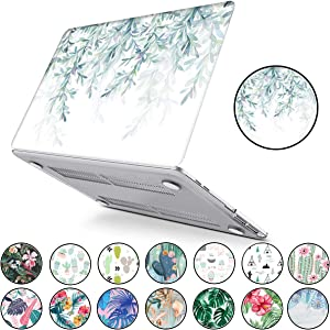 PapyHall Tropical Palm Leaves Printing Hard Plastic Cover for MacBook Pro 13 Inch with Retian Display 2012-2015 Version, No CD-ROM Model: A1502/A1425 White Willow Leaf