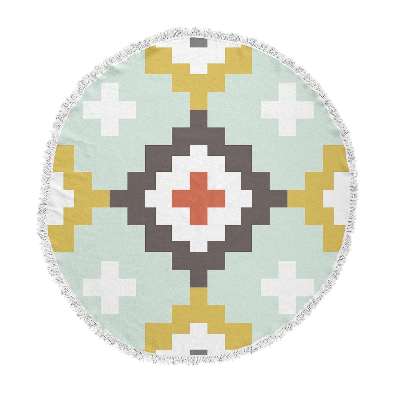 Kess InHouse Pellerina Design Gold Mint Moroccan Diamonds Yellow Green Round Beach Towel Blanket