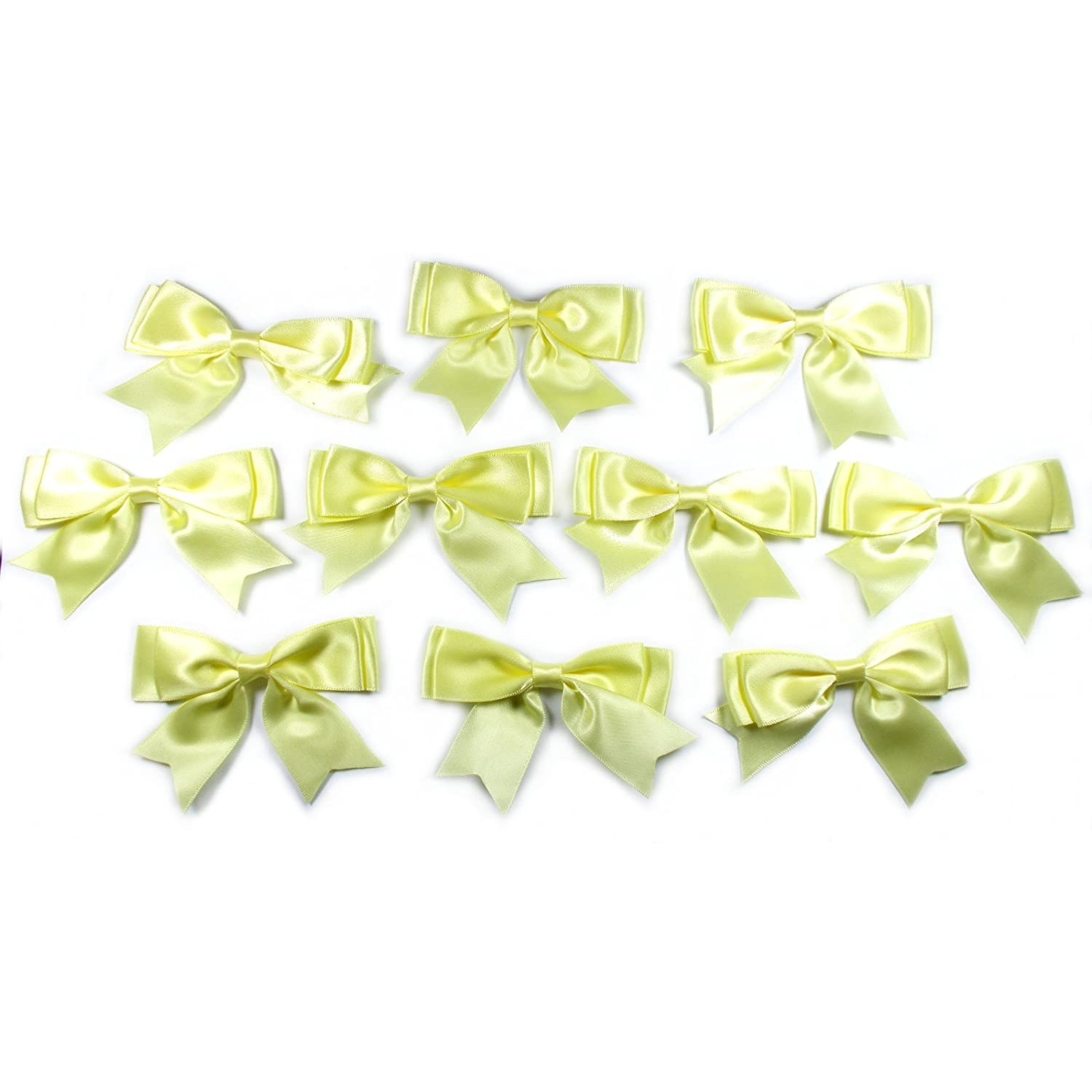 10 x  DARK GREEN SATIN BOWS 7mm wide Ribbon 30mm wide Bow is approx