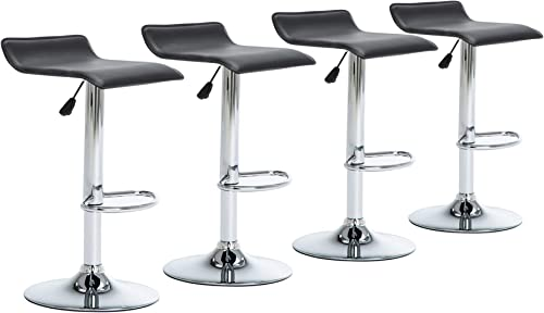 NOBPEINT Contemporary Chrome Air Lift Adjustable Swivel Barstool