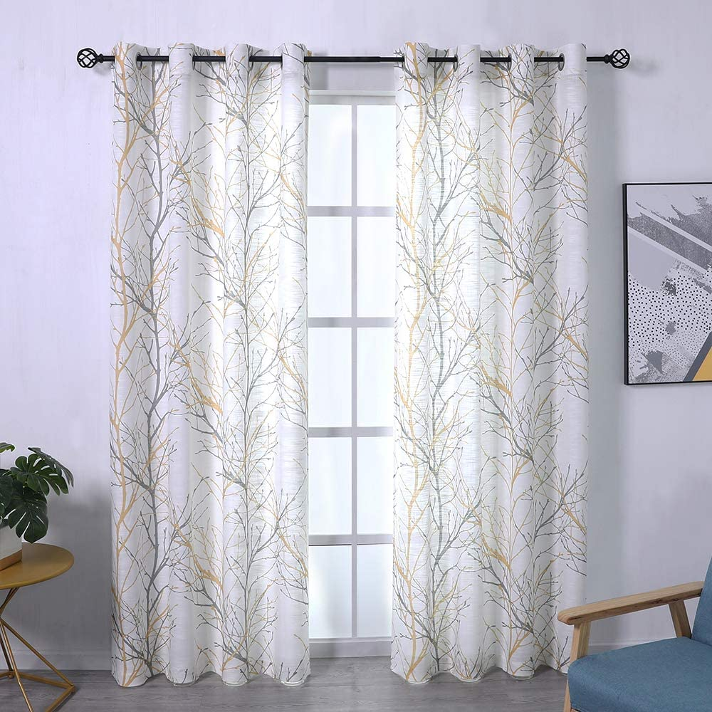 """Fmfunctex Tree Print Yellow Grey and White Curtains for Living Room Windows - Linen Textured Grommet Branches Pattern Window Treatment Set for Bedroom - 50"""" W x 96"""" L - (2 Panels)"""