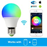 Smart Light Bulb Work with Alexa, RGB 45W WiFi Bulb Assistant Compatible with Amazon Echo and Google Home. Multicolor, Dimmable,No Hub Required, CE/FCC/UL Listed