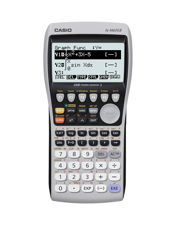 CASIO FX-9860G II Grafikrechner mit natürlichem, 8zeiligem Display, Batterie FX-9860GII Taschenrechner