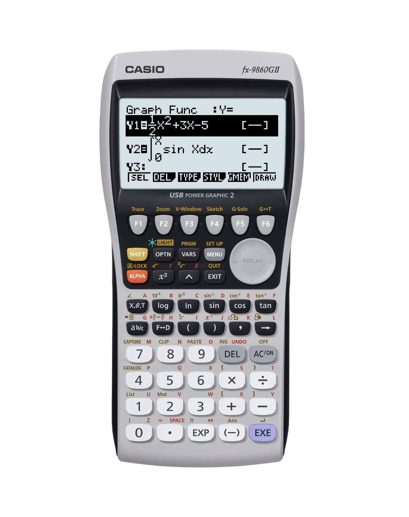 Casio Fx9860 Fx-9860gii USB Power Graphic Scientific Calculator High Resolution Backlit Display Screen 64kb RAM Grey and Black Color Limited Edition.