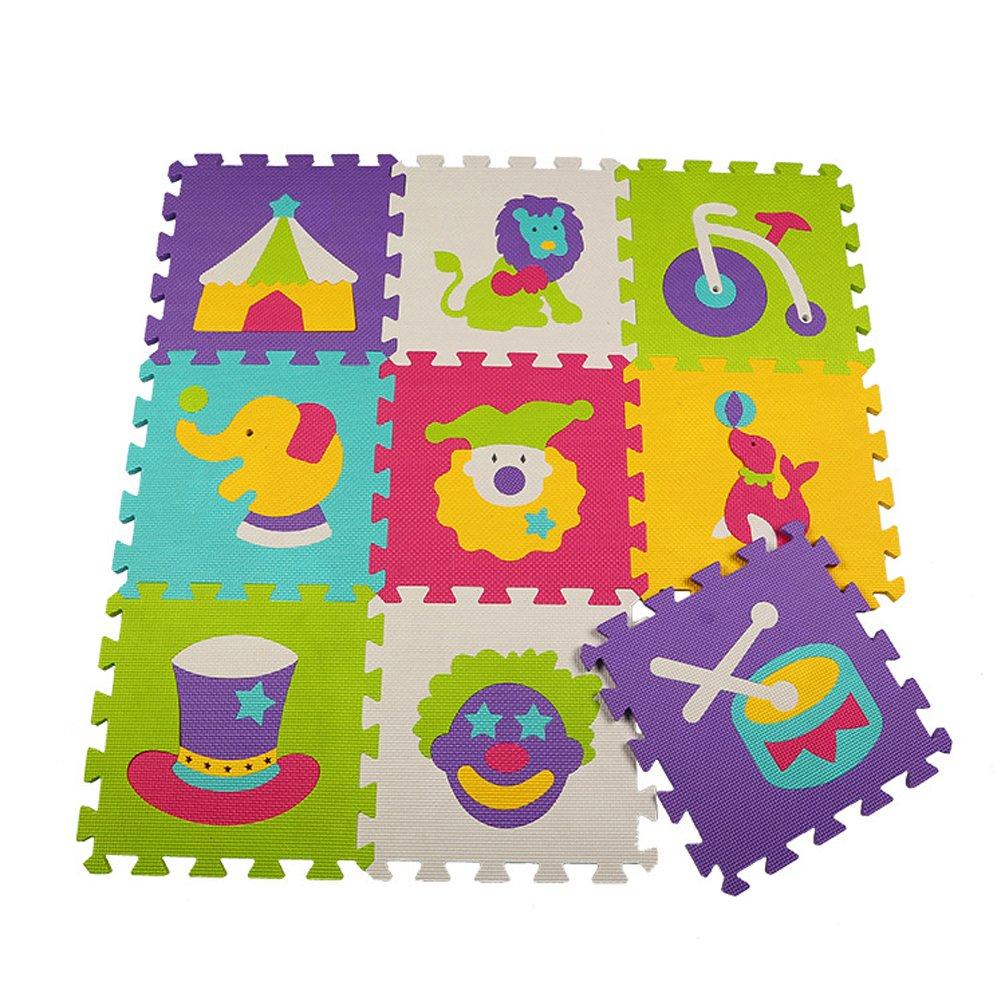 Menu Life ML-008 Cirque En mousse tapis de jeu Interlocking EVA Doux Jigsaw Tapis Puzzle En mousse Bébé Enfant Aire de jeux Mats Yoga d'exercice (30 x 30 x 1cm, 9pcs Jouer Mats Sans Clôtures) ML-P008