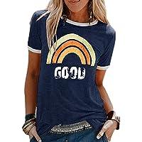 Voqeen Mujer Camiseta de Manga Corta con Cuello Redondo y Estampado Arcoiris para Adolescentes, Camiseta para Niñas…