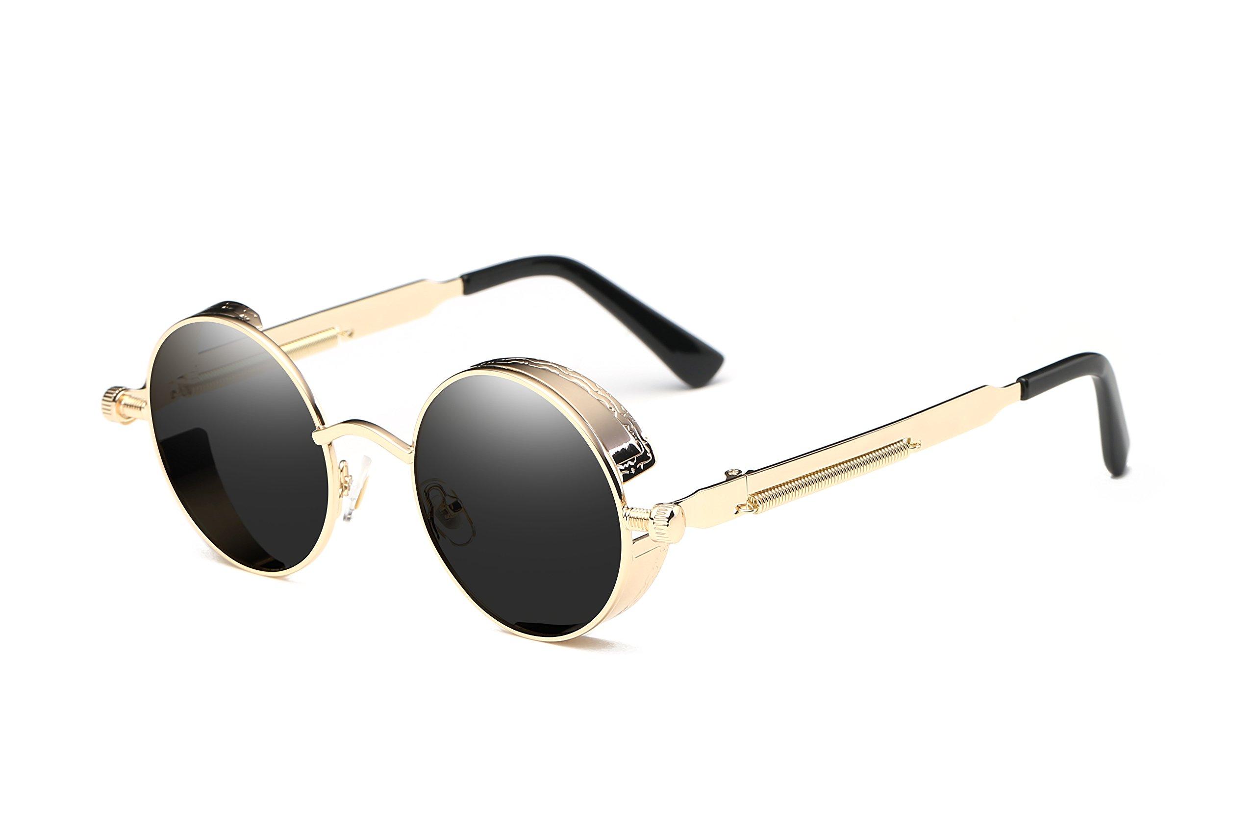 1de1aadeaf Dollger Men Retro Round Sunglasses Vintage Steampunk Gold Metal Frame Shades