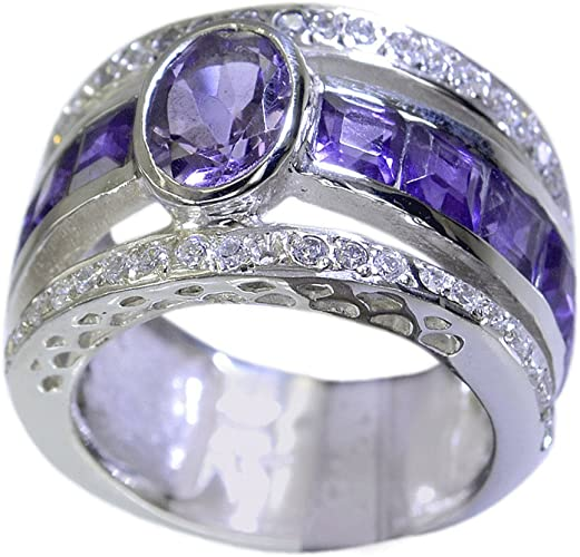 55Carat Natural Amethyst 925 Silver Ring for Women February Birthstone Oval Shape Size 5,6,7,8,9,10,11,12