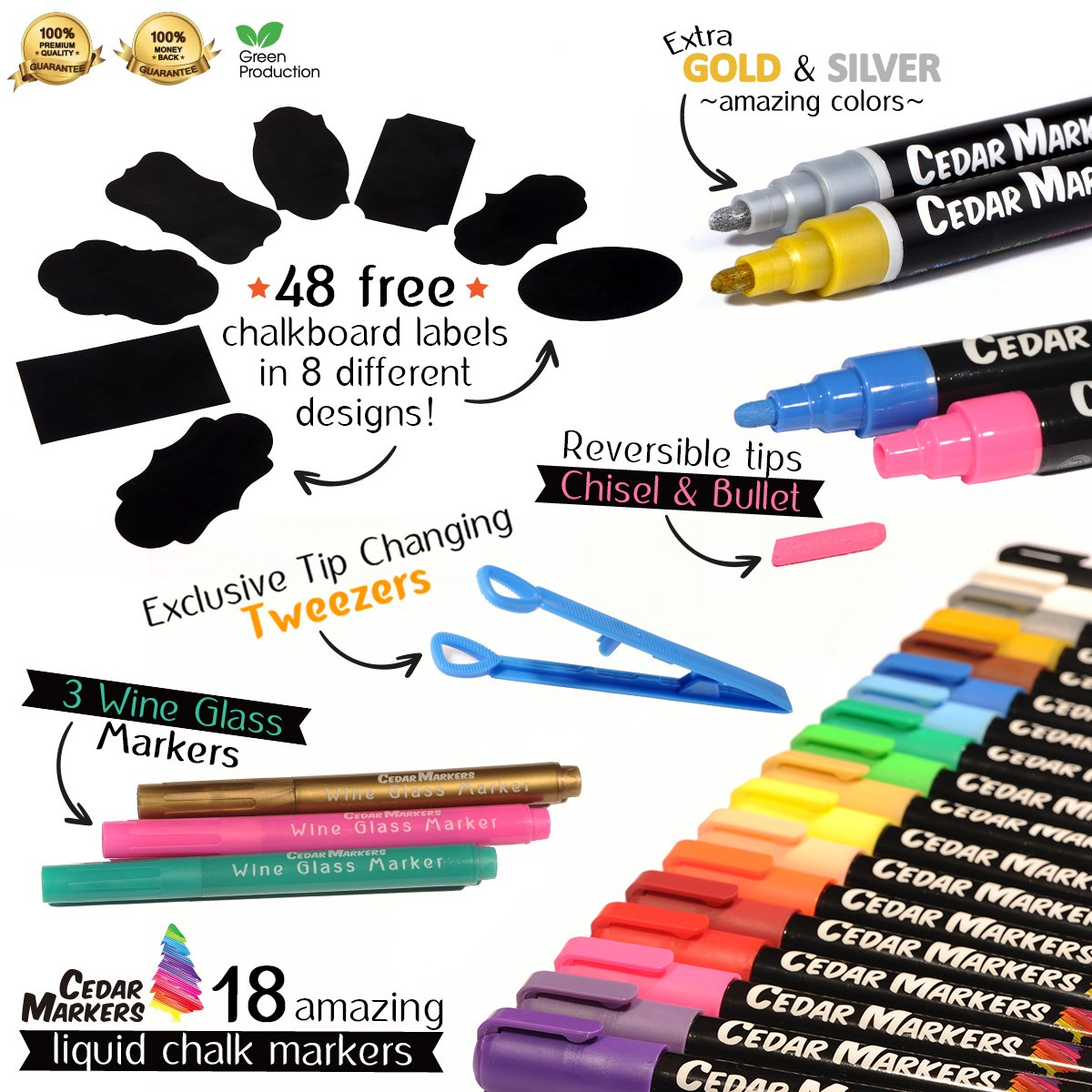 Cedar Markers Liquid Chalk Markers - 18 Pack Chalkboard Markers for Chalkboards. Reversible Bullet And Chisel Tip. Chalk Board Marker paint Water Based Non-Toxic. by Cedar Markers (Image #2)