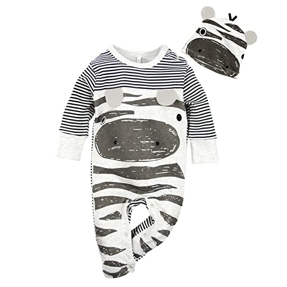 BIG ELEPHANT Mameluco de cerdo de manga larga para bebés de 2 piezas con sombrero E14G98G87