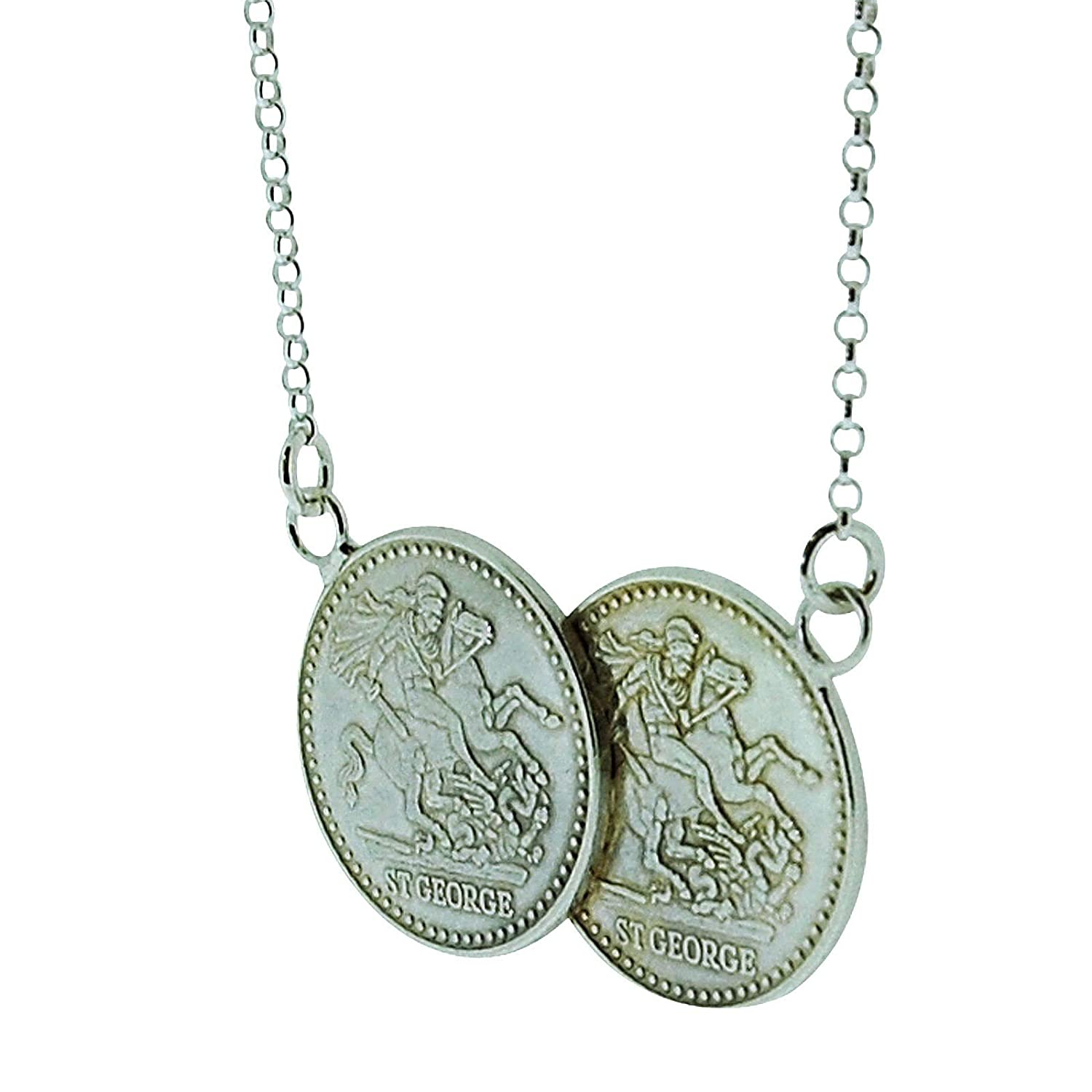 TOC Sterling Silver St George Half Sovereign Double Coin Necklace 17