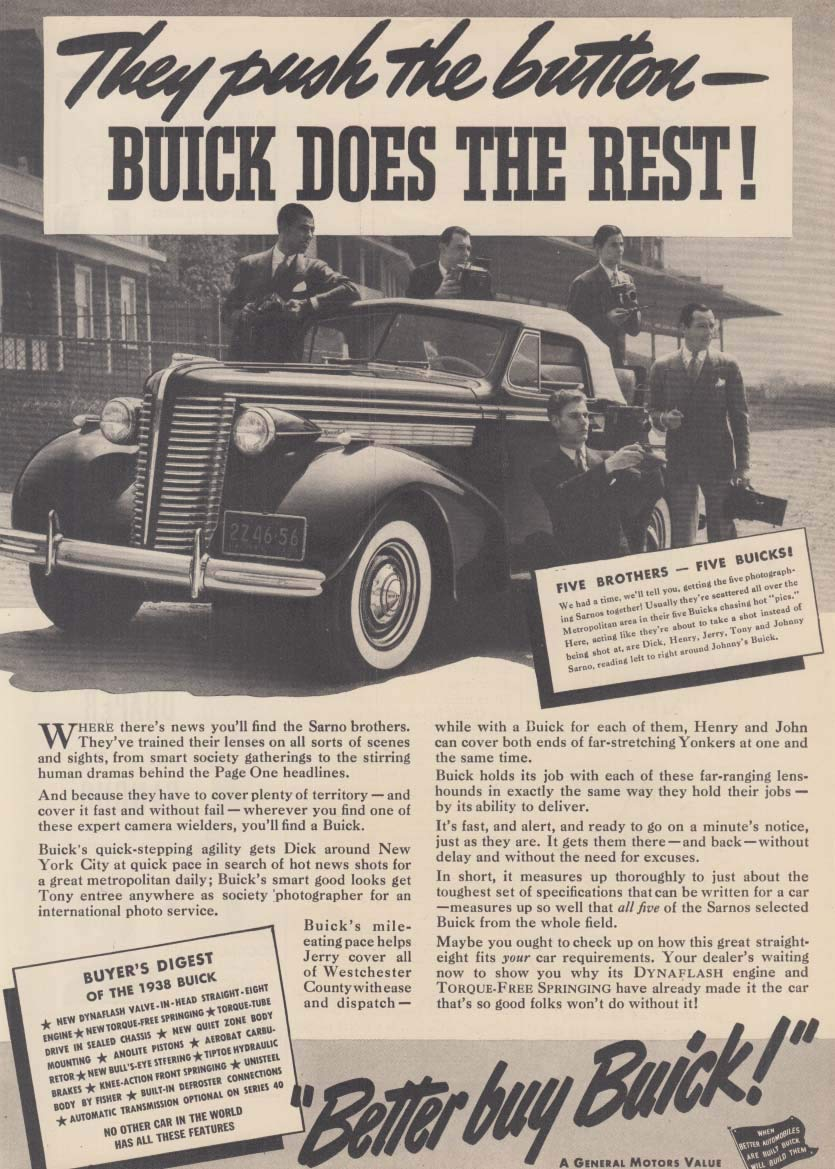 They push a button Buick Convertible does the rest ad 1938 NY Sarno