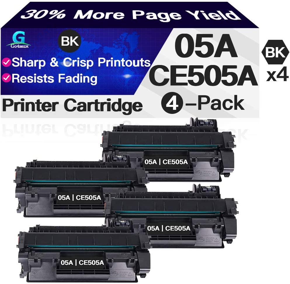 Compatible 4-Pack 05A Toner Cartridge CE505A Used for HP Laserjet P2055 P2055x P2055dn P2055d P2035n P2035 (Black), Sold by Go4max