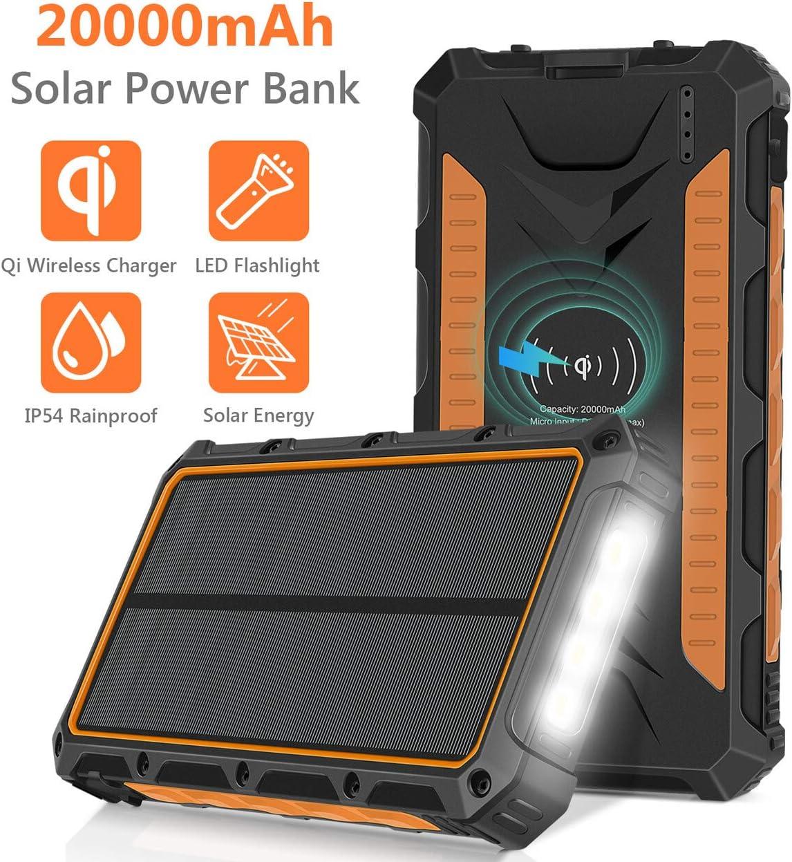 Rugged Qi wireless 20000mAh Solar Power