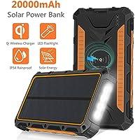 Sendowtek Cargador Solar 20000mAh, Qi Wireless Power Bank Portátil Batería Externa, 3 Puertos de Salida 4 Linternas LED, IP54 a Prueba de Lluvia para Acampar, Actividades al Aire Libre - Naranja