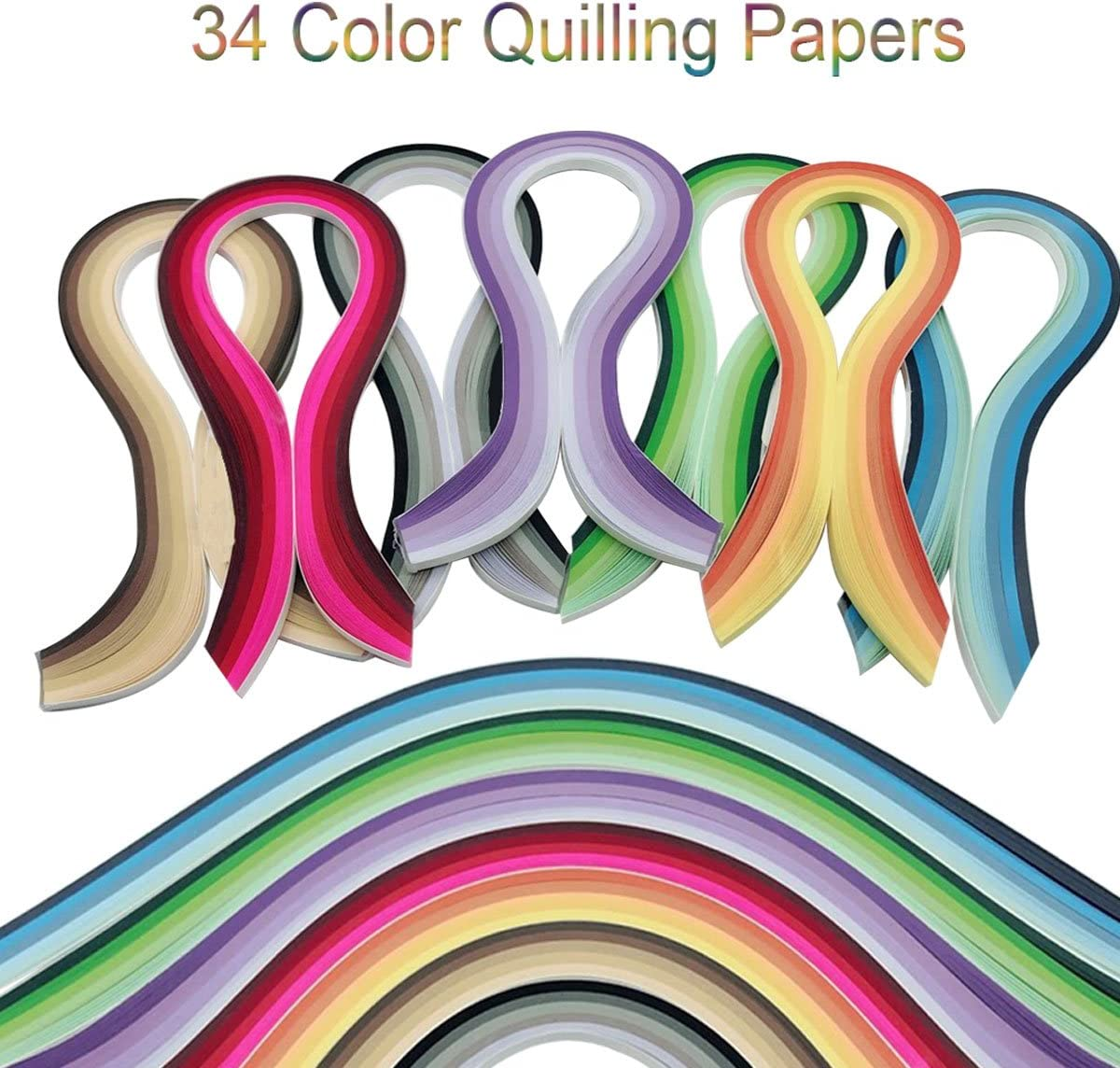 Woohome Quilling Supplies Paper Quilling Kits with 10 Quilling Tools and 34 Colors 700 Strips Quilling Paper for Craft