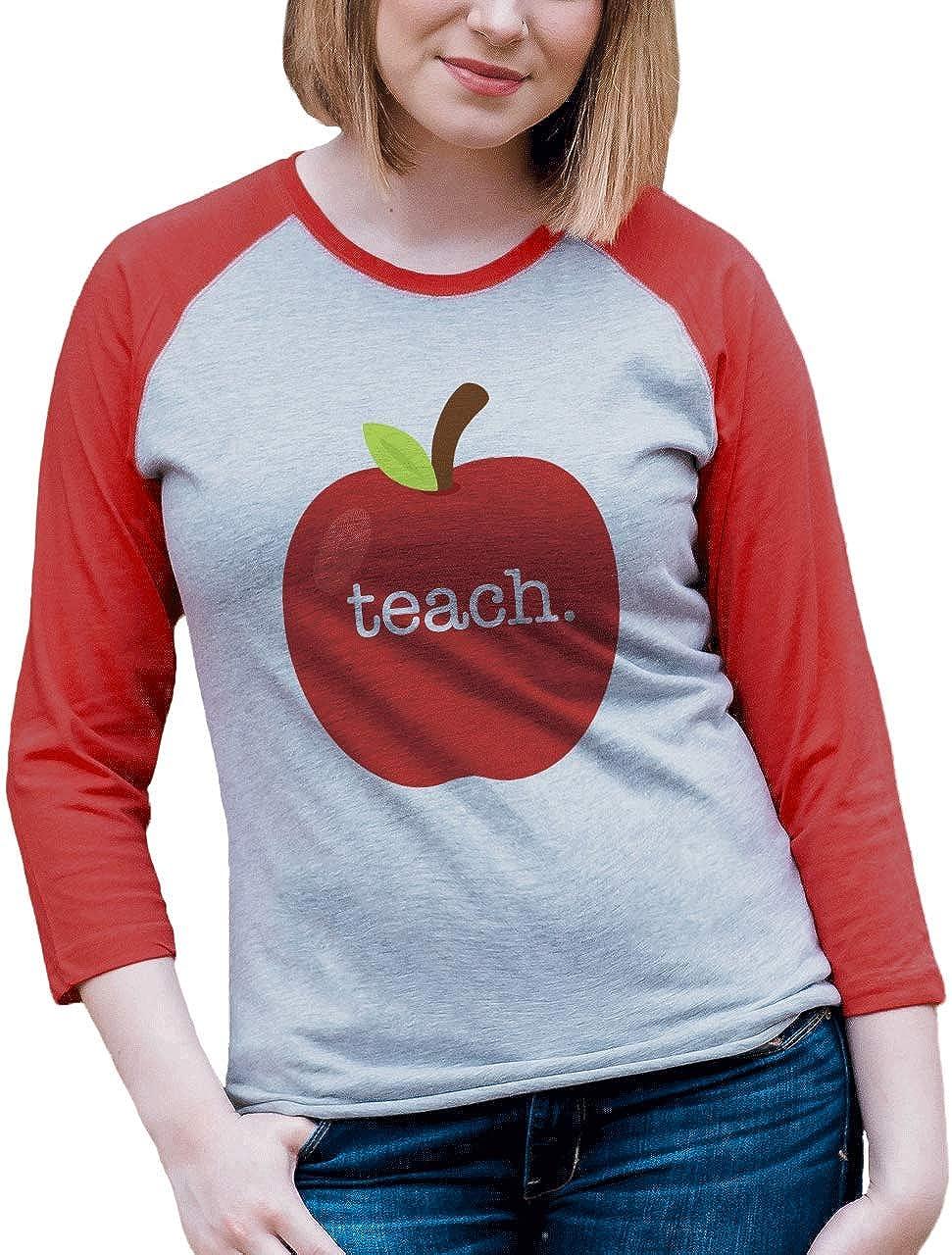 Custom Party Shop Womens Red Apple Teacher Raglan Shirt