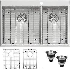 Ruvati 33 x 22 Inch Drop-in 60/40 Double Bowl 16 Gauge Zero-Radius Topmount Stainless Steel Kitchen Sink - RVH8050